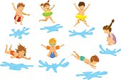 active kids children, boys and girls diving jumping into swimming pool water isolated