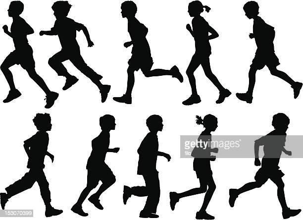 active kids - running stock illustrations