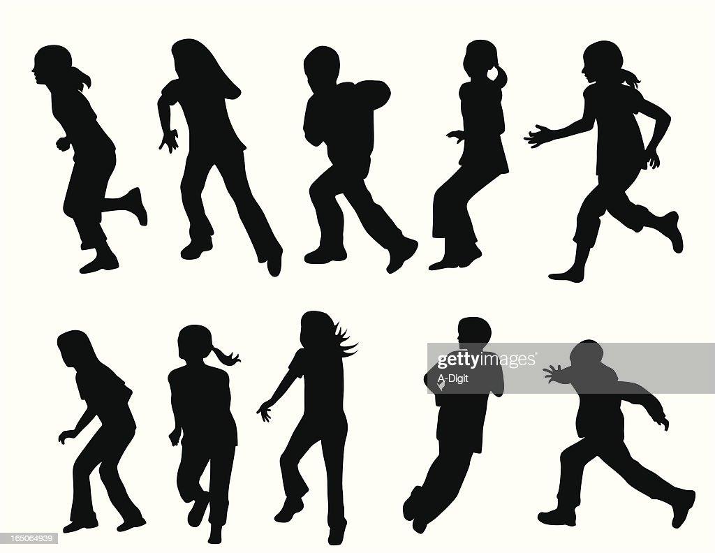 Active Kids Vector Silhouette