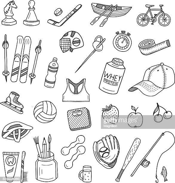 active lifestyle doodles set - cap hat stock illustrations, clip art, cartoons, & icons