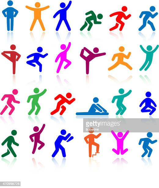 active lifestyle people and vitality vector icon set - gymnastics stock illustrations