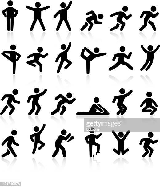 active lifestyle people and vitality vector icon set - dancing stock illustrations, clip art, cartoons, & icons