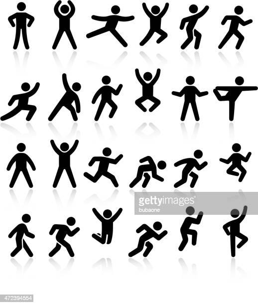 active lifestyle people and vitality vector icon set - jumping stock illustrations