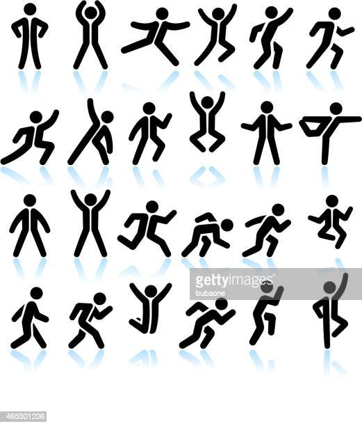 active people healthy life black & white vector icon set - physical therapy stock illustrations, clip art, cartoons, & icons