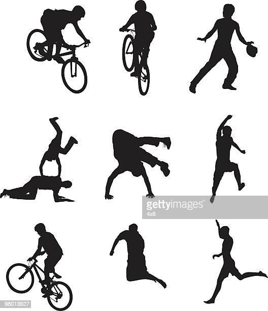 ilustrações de stock, clip art, desenhos animados e ícones de activos pessoas - mountain bike