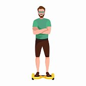 active peoples fun with electric scooter, new modern technology hoverboard, man self balance wheel transport gyroscooter ride the street vector illustrator