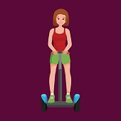 active peoples fun with electric scooter, new modern technology hoverboard, woman self balance wheel transport gyroscooter ride the street vector illustrator