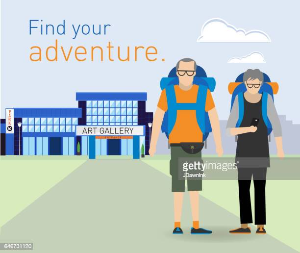 Active seniors on adventure