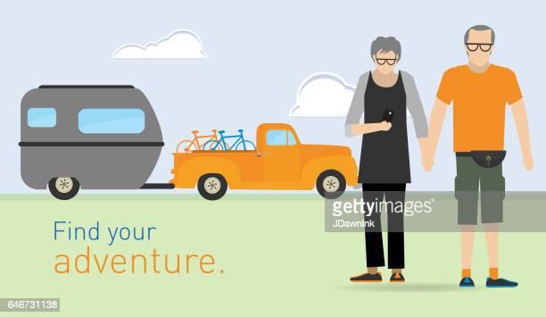 アクティブ シニアの冒険 - 年配のカップル点のイラスト素材/クリップアート素材/マンガ素材/アイコン素材