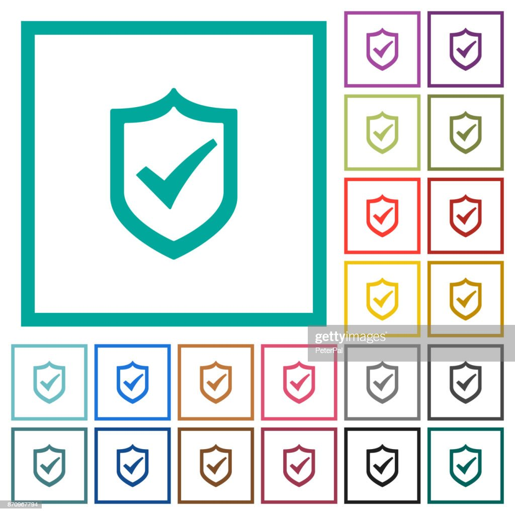 Active shield flat color icons with quadrant frames