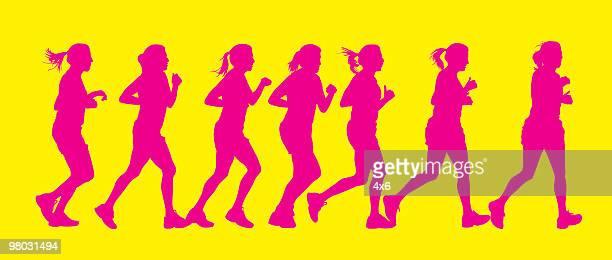 Active women running