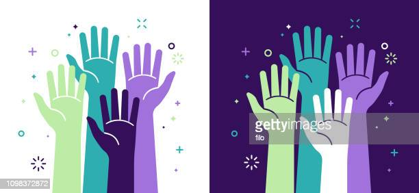 activism social justice and volunteering - greeting stock illustrations