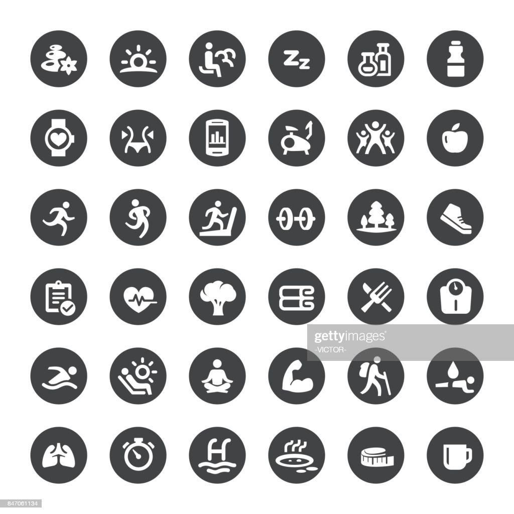 Activity and Healthy Lifestyle Vector Icons : stock illustration
