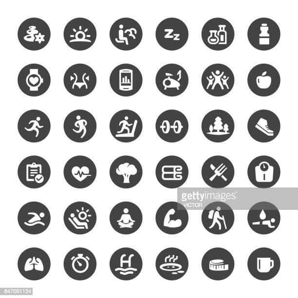 activity and healthy lifestyle vector icons - body conscious stock illustrations, clip art, cartoons, & icons