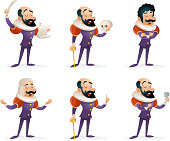 Actor Theater Stage Man Characters Medieval Different Actions Icons Set Cartoon Design Template Vector Illustration