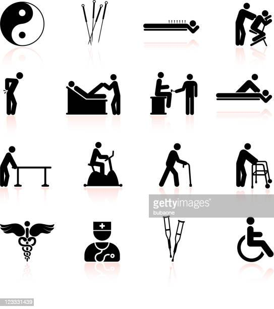 acupuncture and physical therapy black & white icon set - acupuncture stock illustrations, clip art, cartoons, & icons