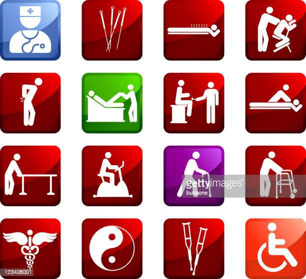 acupuncture and physical therapy royalty free vector icon set - acupuncture stock illustrations, clip art, cartoons, & icons