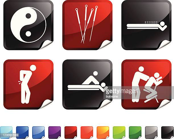 acupuncture royalty free vector icon set stickers - acupuncture stock illustrations, clip art, cartoons, & icons
