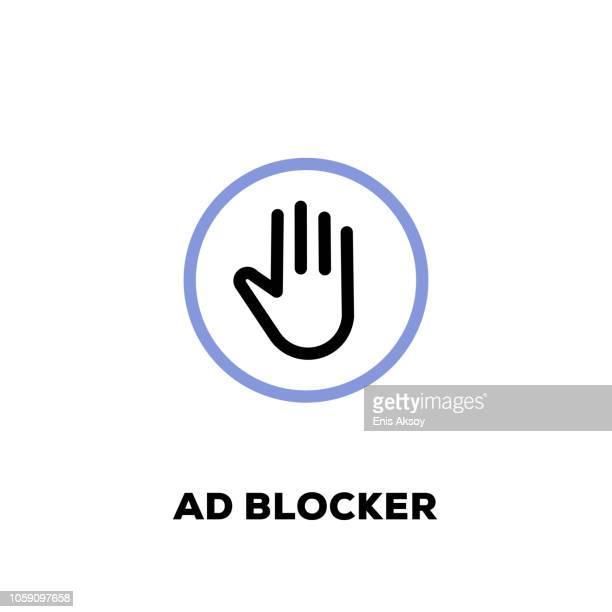 illustrations, cliparts, dessins animés et icônes de ad blocker ligne icône - panneau stop