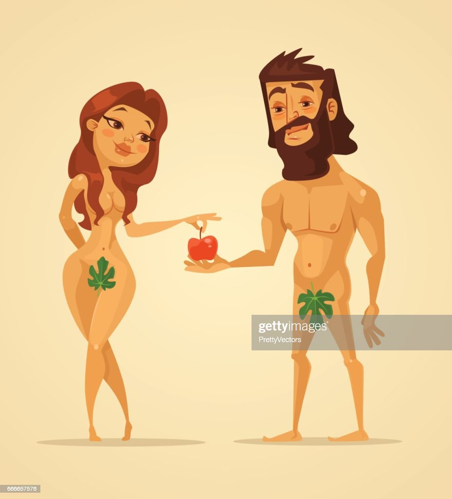 Adam and Eve characters. Woman offer apple to man