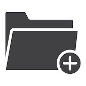 Add Folder glyph icon, web and mobile, add file sign vector graphics, a solid pattern on a white background, eps 10.