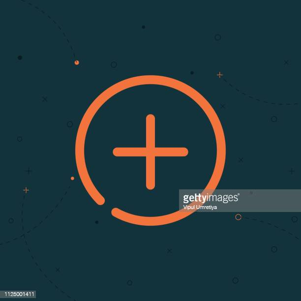 add glyph flat circle icon - plus sign stock illustrations, clip art, cartoons, & icons