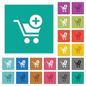 Add item to cart square flat multi colored icons