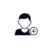 Add man icon. User profile web with plus glyph. Vector isolated icon