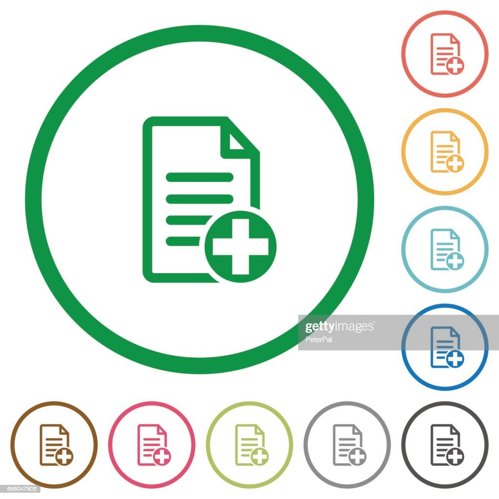 Add new document flat icons with outlines