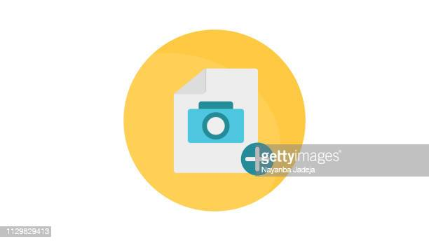 add new document icon with camera - corner marking stock illustrations, clip art, cartoons, & icons
