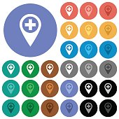 Add new GPS map location round flat multi colored icons