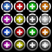 Add new item white icons in round glossy buttons on black background