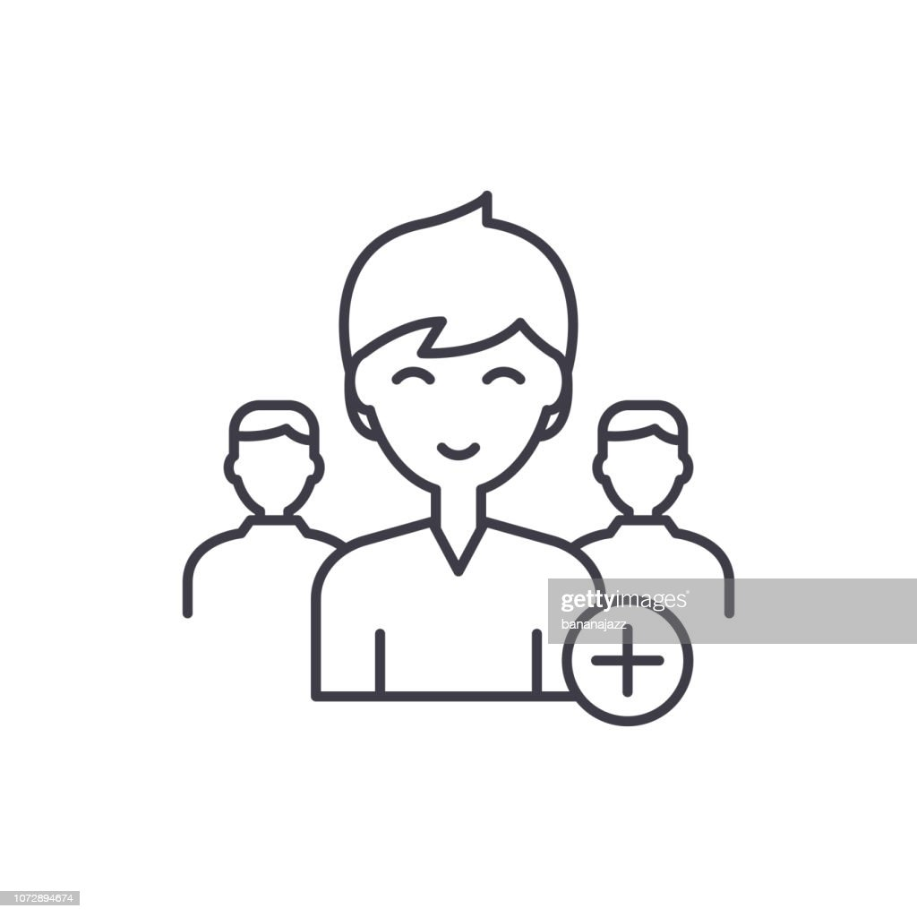Add new user line icon concept. Add new user vector linear illustration, symbol, sign