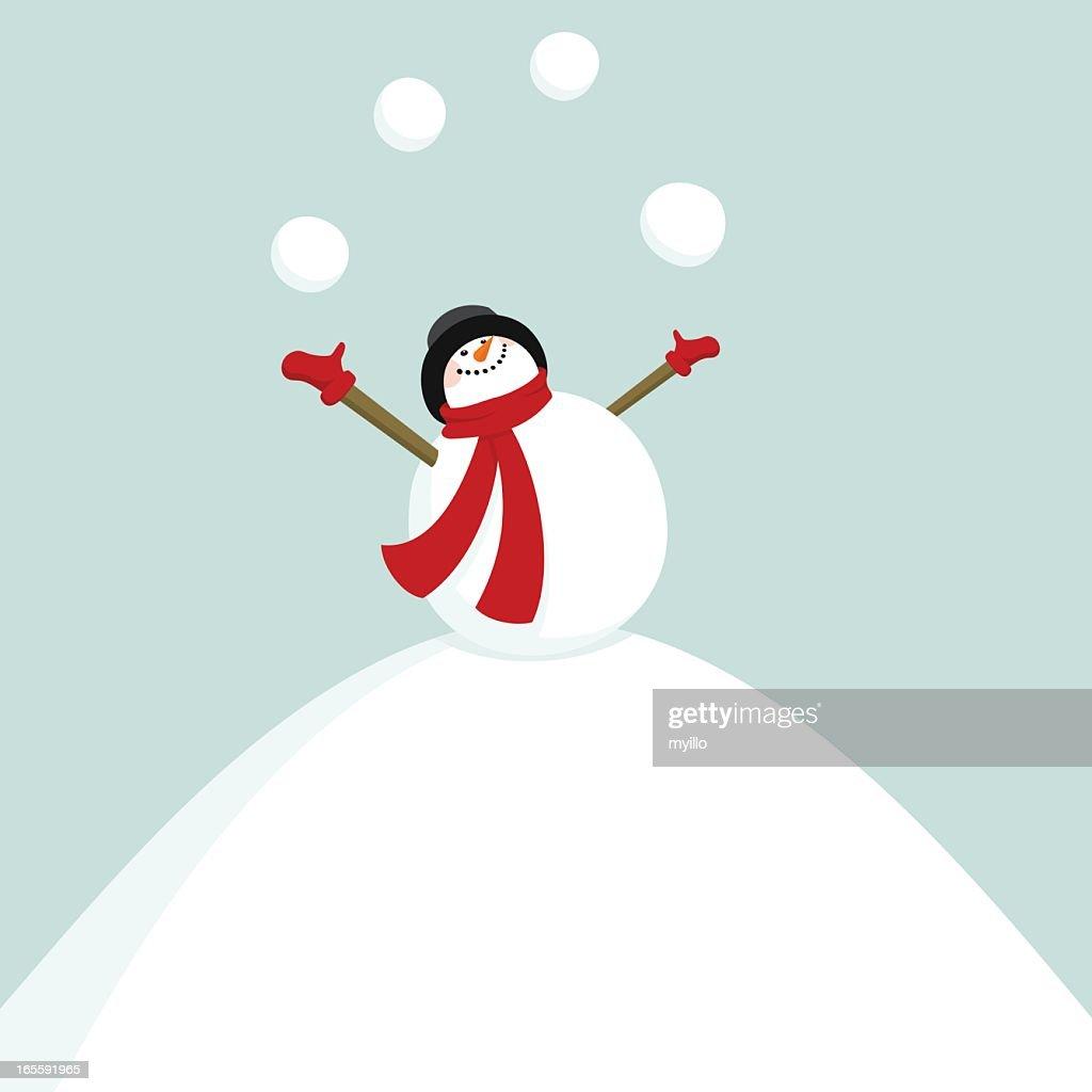 Add New Year on the snowballs / snowman juggler