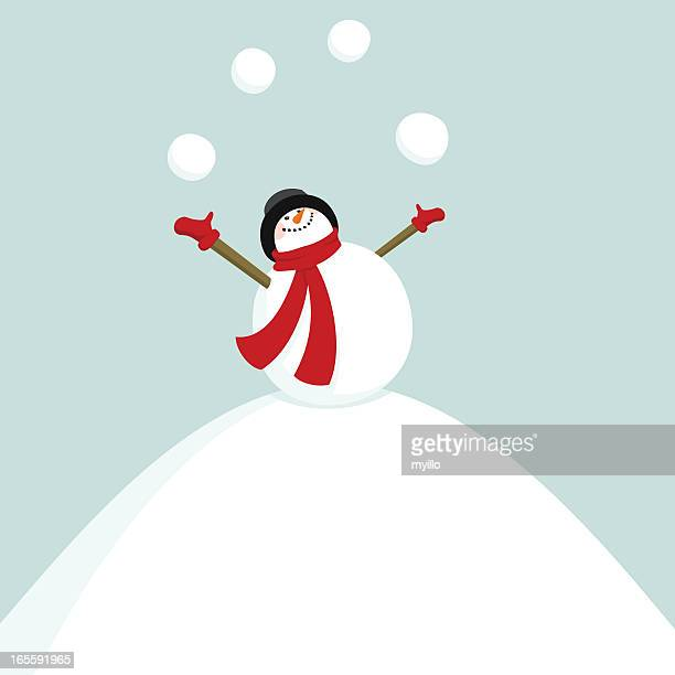 add new year on the snowballs / snowman juggler - snowman stock illustrations