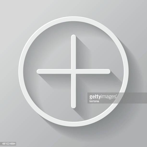 add paper thin line interface icon with long shadow - plus sign stock illustrations, clip art, cartoons, & icons