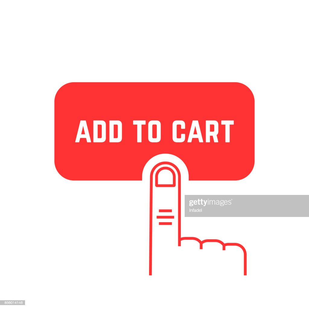 add to cart button with red thin line palm