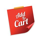 Add To Cart Red Sticky Notes Vector Icon Design