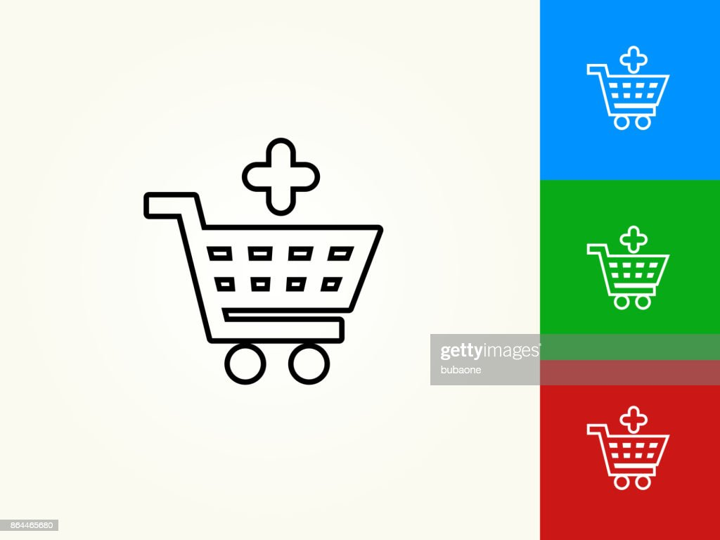 Add To Shopping Cart Black Stroke Linear Icon Vector Art Getty Images Diagram