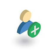 add user, new friend, member and plus sign, isometric flat icon. 3d vector