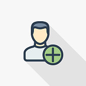 add user, new friend, member and plus sign, thin line flat color icon. Linear vector symbol. Colorful long shadow design.