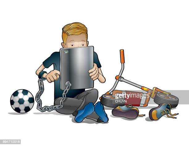 addicted boy slave - addiction stock illustrations, clip art, cartoons, & icons
