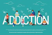 Addiction concept illustration of young people using devices such as