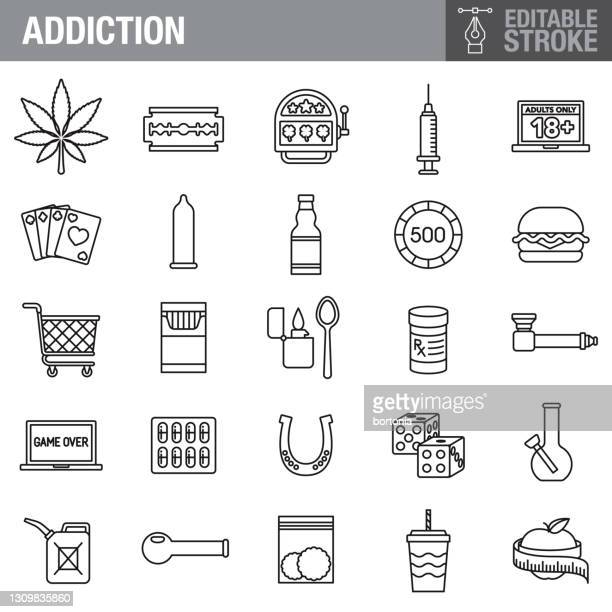 addiction editable stroke icon set - crack pipe stock illustrations