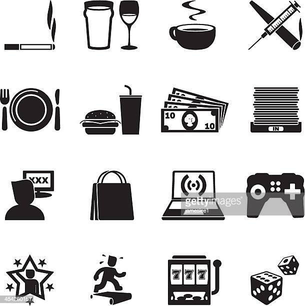 addictions icon set - recreational drug stock illustrations, clip art, cartoons, & icons