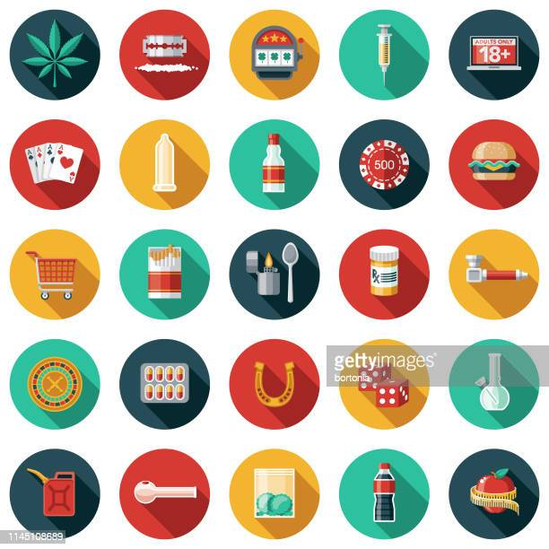 addictions thin line icon set - recreational drug stock illustrations, clip art, cartoons, & icons