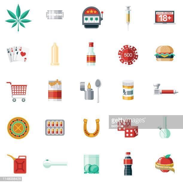 addictions thin line icon set - cocaine stock illustrations, clip art, cartoons, & icons