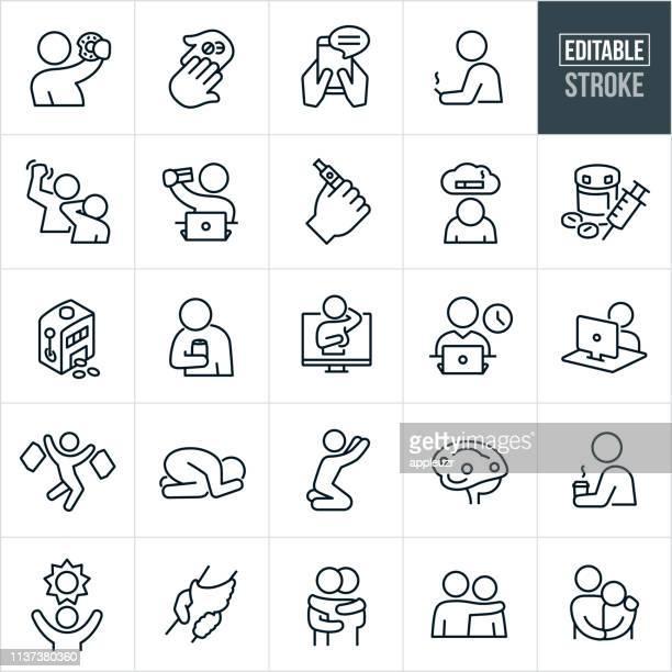 addictions thin line icons - editable stroke - gambling addiction stock illustrations