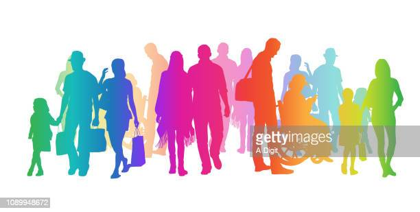 adding diversity rainbow silhouettes - shadow stock illustrations