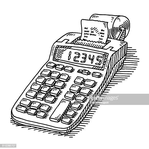 adding machine tape calculator drawing - receipt stock illustrations